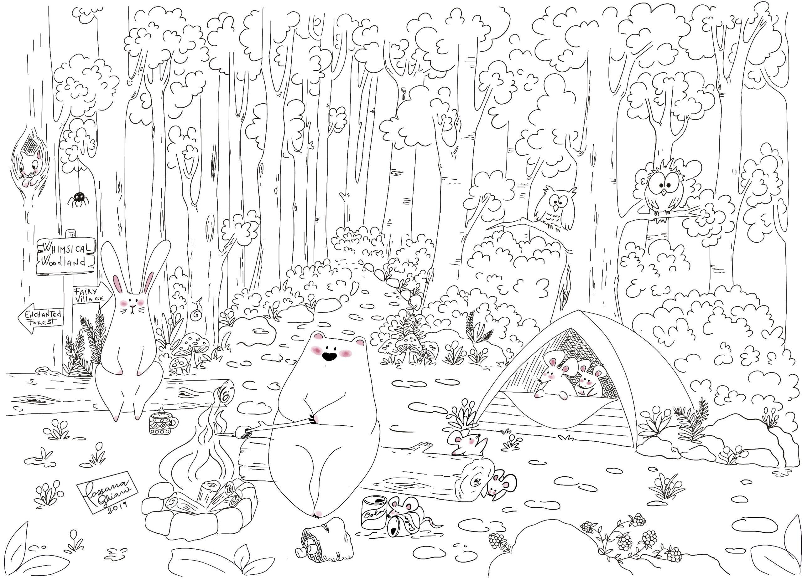 whimsical woodland - pagine da colorare per bambini